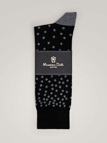COMBED COTTON SOCKS WITH CONTRASTING POLKA DOTS