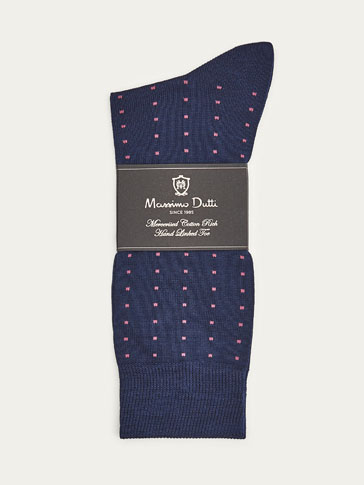 MERCERISED COTTON SOCKS WITH SQUARE PRINT