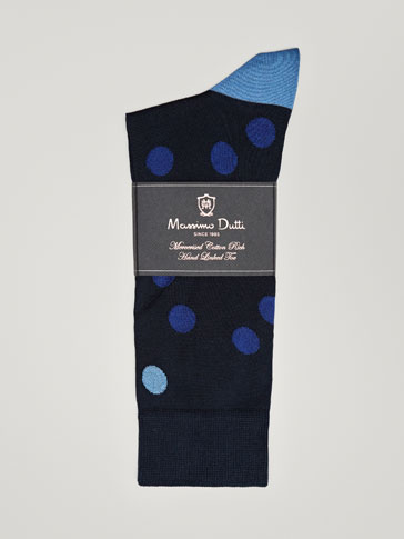 TWO-TONE MERCERIZED COTTON POLKA DOT SOCKS