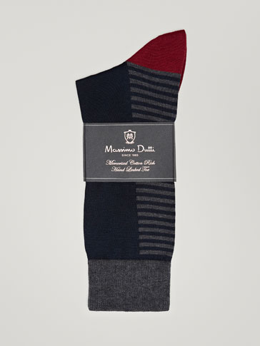 MERCERIZED COTTON SOCKS WITH PLACEMENT STRIPES