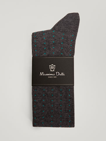 BRUSHED COTTON SOCKS WITH SQUARE PRINT