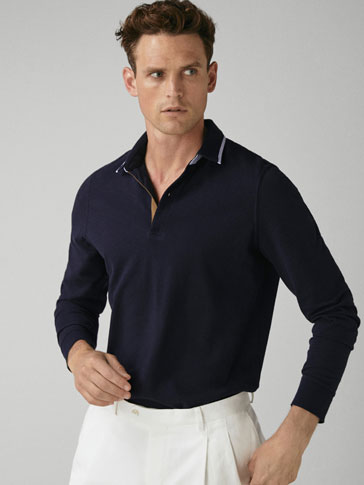 POLO SHIRT WITH CONTRASTING PIPING DETAIL