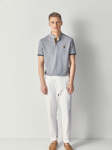 TEXTURED WEAVE MARL POLO SHIRT WITH CONTRASTING DETAILS