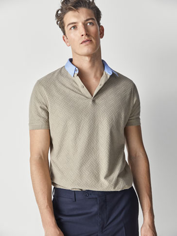 COTTON TEXTURED WEAVE SHIRT-STYLE POLO