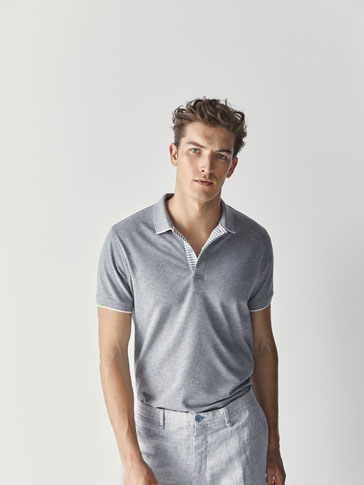 TEXTURED WEAVE MARL POLO SHIRT WITH STRIPED PLACKET