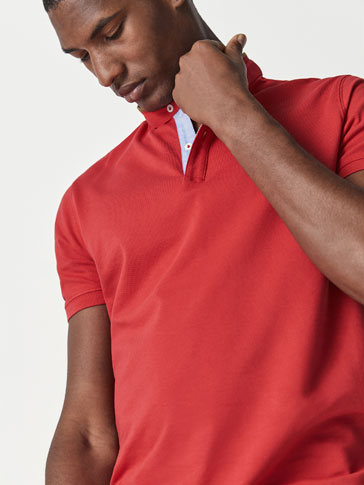 COTTON POLO SHIRT WITH CONTRASTING DETAILS