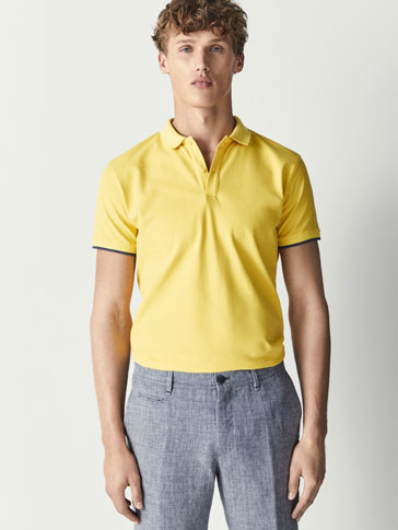 SLIM FIT ELASTANE-COTTON POLO SHIRT WITH CONTRASTING UNDERCOLLAR