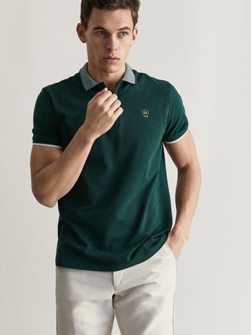 POLO SHIRT WITH CREST AND CONTRASTING DETAIL