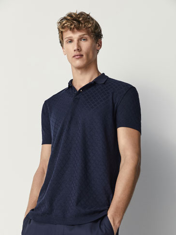 DIAMOND TEXTURED WEAVE COTTON POLO SHIRT