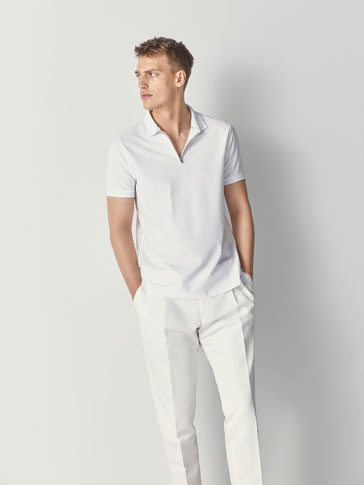 COTTON POLO SHIRT WITH ZIP DETAIL