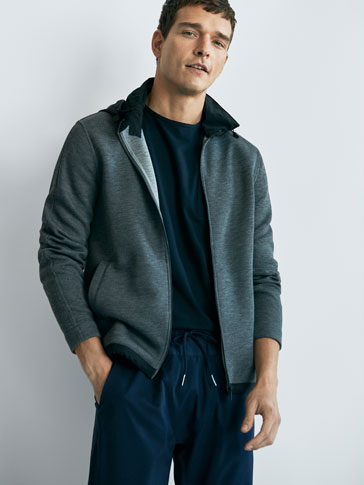 SOFT COLLECTION CONTRASTING JACKET WITH HOOD