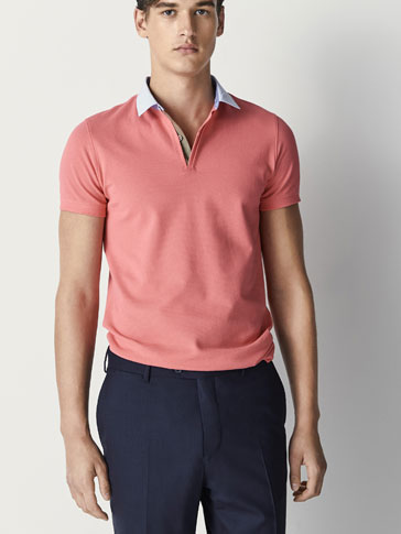 COTTON POLO SHIRT WITH CHECKED COLLAR DETAIL