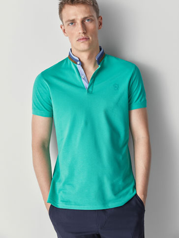 COTTON POLO SHIRT WITH DOTTED DETAIL
