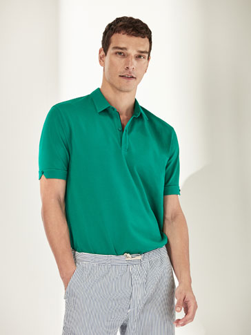 TEXTURED WEAVE COTTON POLO SHIRT WITH BUTTON DETAIL