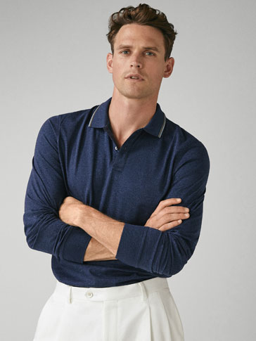 MERCERISED POLO SHIRT WITH CONTRASTING DETAIL