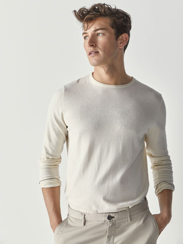 COTTON/SILK/CASHMERE SWEATER WITH CONTRASTING DETAIL