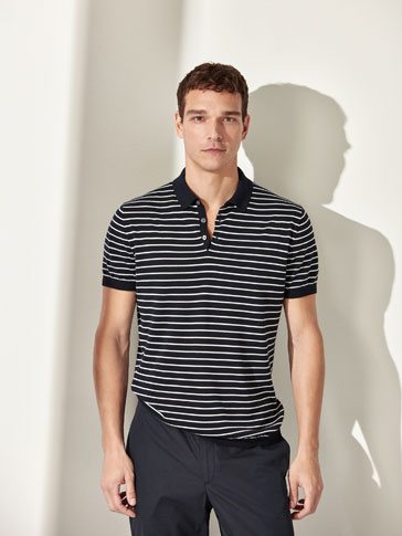 STRIPED COTTON POLO-STYLE SWEATER
