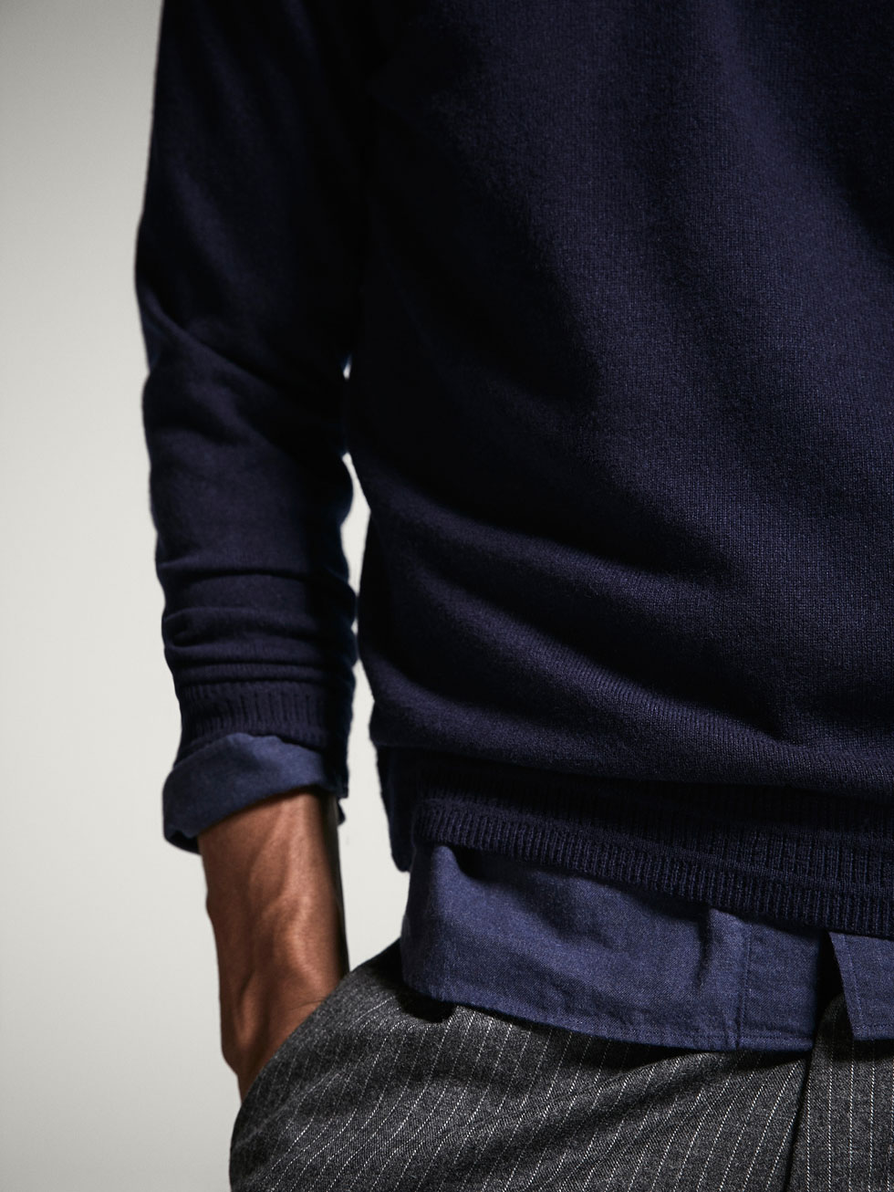 SOLID-COLOURED WOOL AND CASHMERE SWEATER - Men - Massimo Dutti