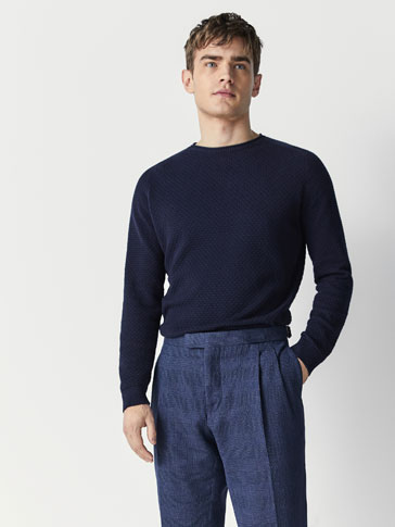 TEXTURED WEAVE COTTON/CASHMERE SWEATER