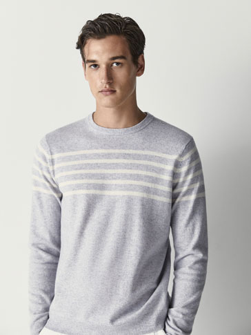 WOOL/CASHMERE SWEATER WITH STRIPED DETAIL