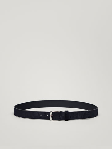 DIAMOND-EMBOSSED SPLIT SUEDE BELT