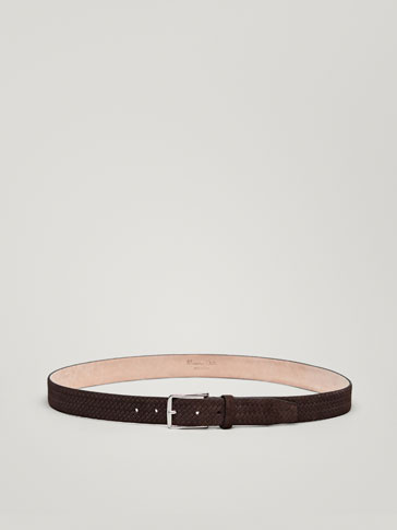 SPLIT SUEDE BELT WITH EMBOSSED BRAIDED DETAIL