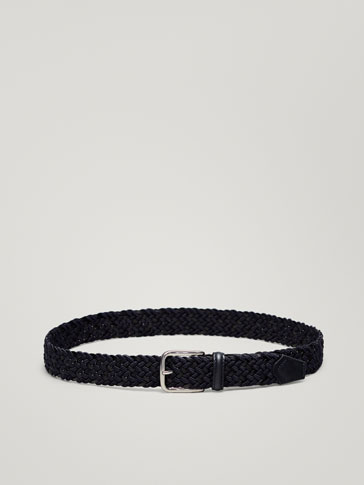 CONTRASTING BRAIDED LEATHER BELT