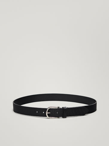LEATHER BELT WITH EMBOSSED EMBELLISHMENT