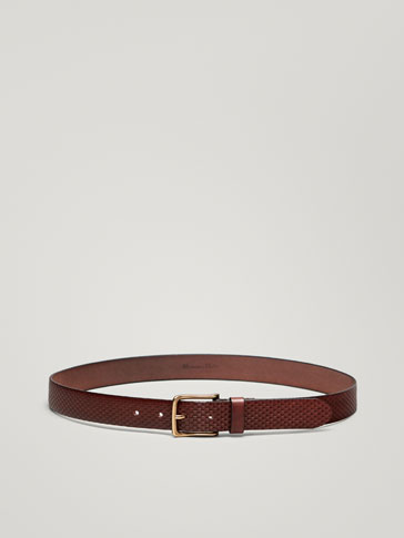 EMBOSSED LEATHER BELT WITH STITCHING DETAIL