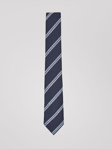 STRIPED LINEN/SILK/COTTON TIE