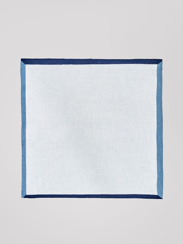 LINEN HANDKERCHIEF WITH CONTRASTING PIPING
