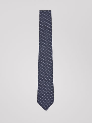 MICRO POLKA DOT SILK/COTTON TIE