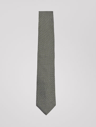 SILK/COTTON TIE WITH INTERWOVEN TEXTURED WEAVE