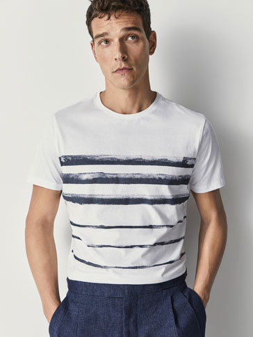STRIPED PRINT COTTON T-SHIRT