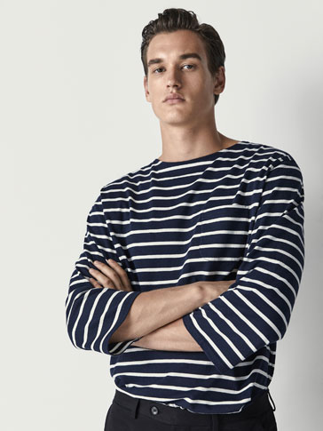 STRIPED COTTON T-SHIRT WITH POCKET DETAIL