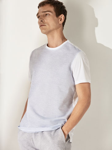 CONTRASTING COTTON/LINEN T-SHIRT