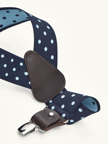 BLUE BRACES WITH POLKA DOT DETAIL