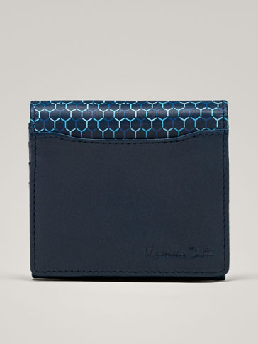 LEATHER WALLET WITH GEOMETRIC PRINT