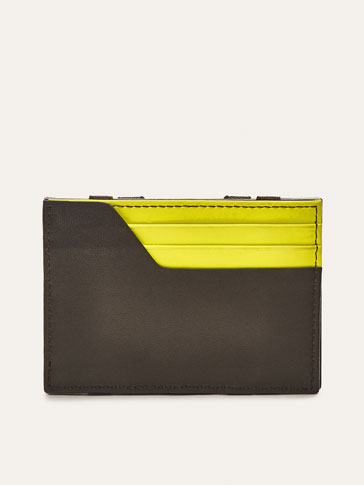 PORTATESSERE IN PELLE COMBINATA MAGIC WALLET CON DETTAGLIO A CONTRASTO