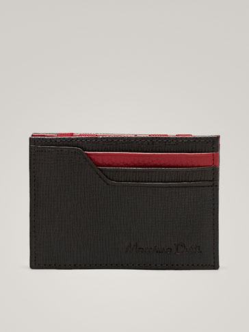 TWO-TONE EMBOSSED LEATHER MAGIC CARD HOLDER