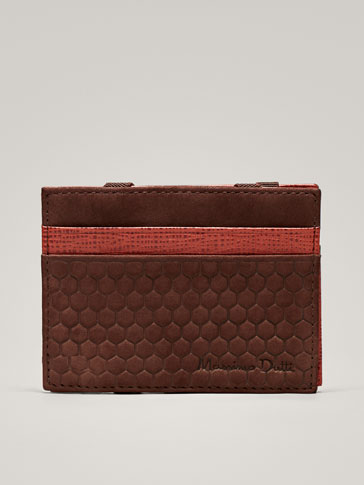 NUBUCK LEATHER MAGIC CARD HOLDER WITH HONEYCOMB TEXTURE