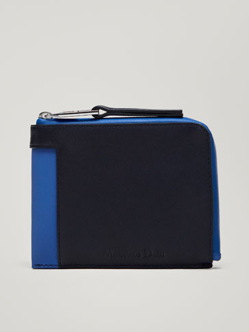 COMBINED LEATHER WALLET WITH CONTRASTING DETAIL