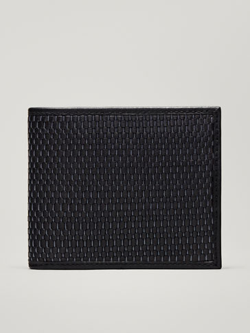 LEATHER WALLET WITH A CONTRASTING PLAITED PANEL