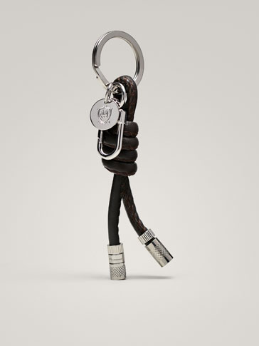 LEATHER KEYRING WITH KNOT DETAIL
