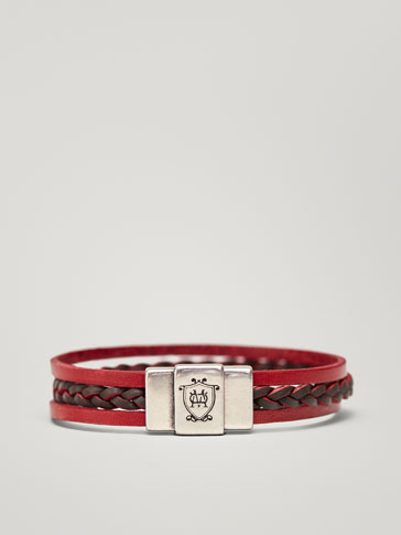 BRACELET TRIPLE RANG CUIR FINITION ROUGE