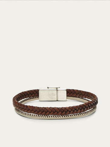 DOUBLE PLAITED LEATHER AND CORD BRACELET