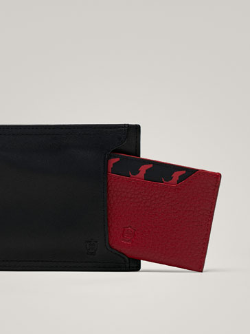 COMBINED LEATHER WALLET WITH CARD SLOT DOG PRINT DETAIL