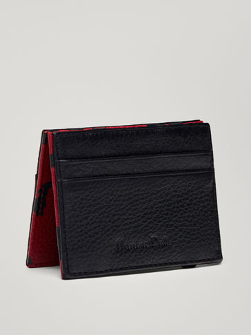 COMBINED MAGIC WALLET LEATHER CARD HOLDER WITH DOG DETAIL