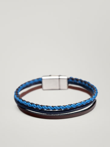 TRIPLE STRAND LEATHER BRACELET WITH PLAITED DETAIL