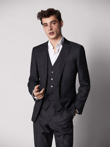 SLIM FIT FIL À FIL WOOL BLAZER